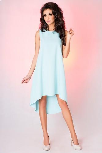 Błękitna luźna sukienka na wesele