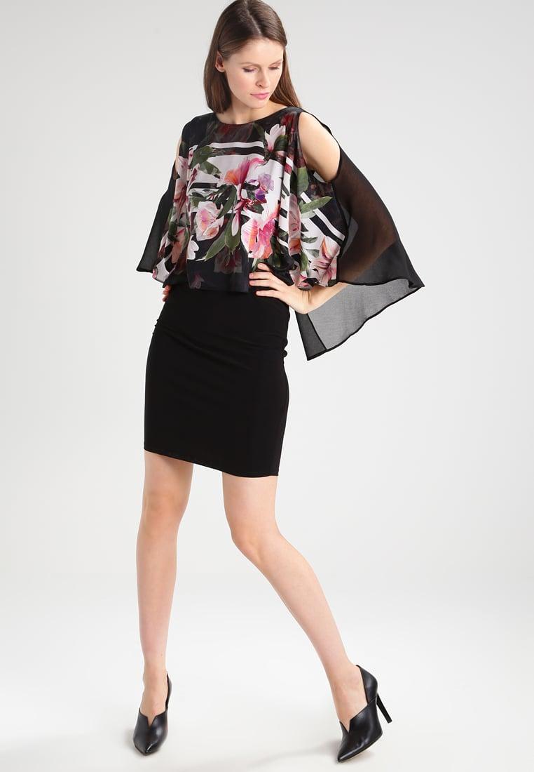 Sukienka z narzutką szyfonową czarna