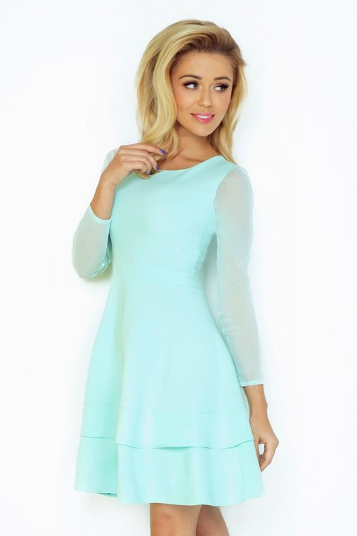 Sukienka z tiulowymi rękawami miętowa