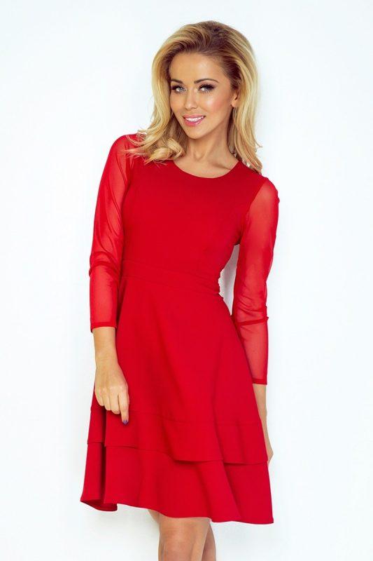 Czerwona sukienka z tiulem koktajlowa