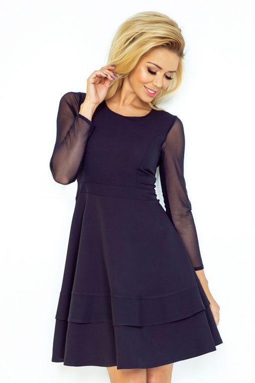 Granatowa sukienka tiulowe rękawy