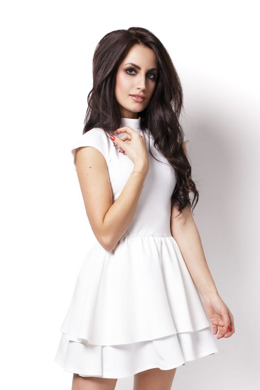kremowa sukienka koktajlowa