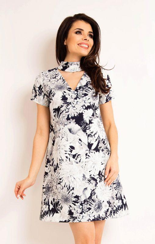 Letnia sukienka w kwiaty zakładana na szyję