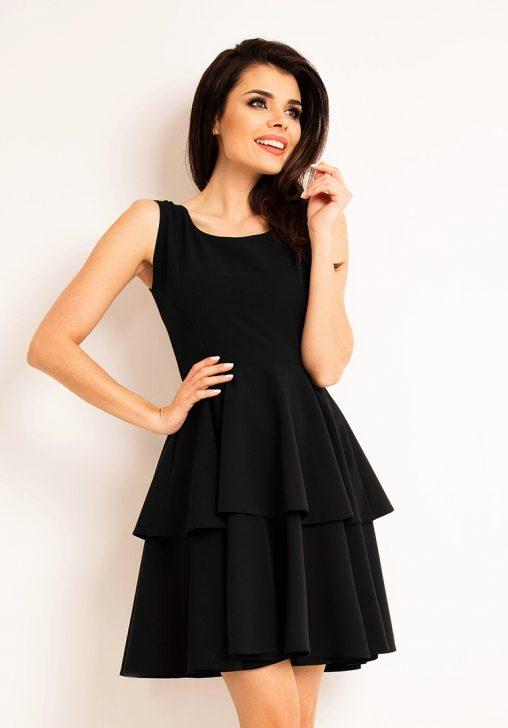 Czarna sukienka z podwójną falbanką na lato