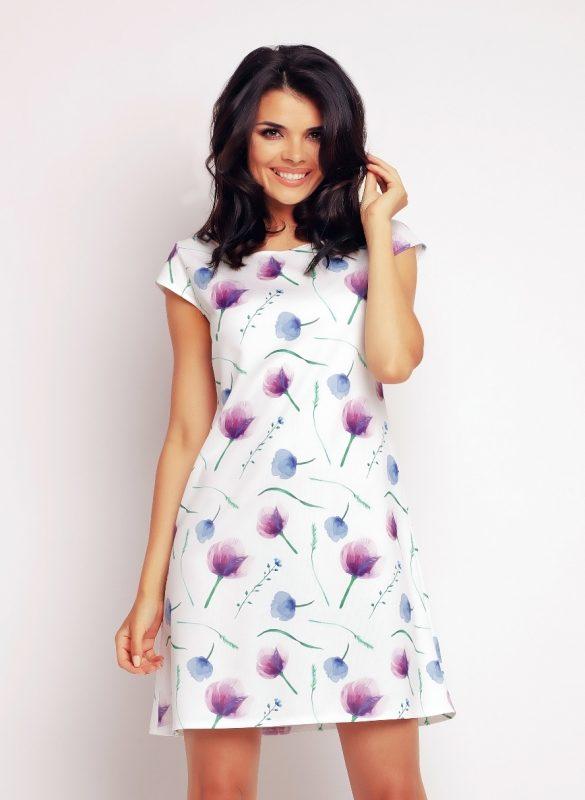 Letnia sukienka koktajlowa z wzorem w kwiaty