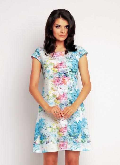 letnia wzorzysta sukienka z krótkim rękawem
