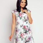 Letnia sukienka w róże luźny krój biała