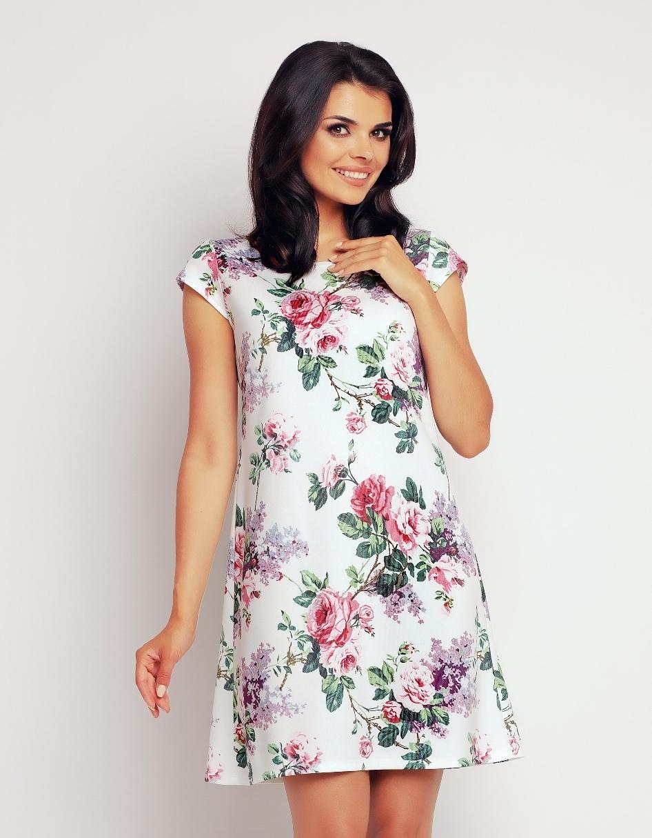 Letnia letnia sukienka w róże luźny krój
