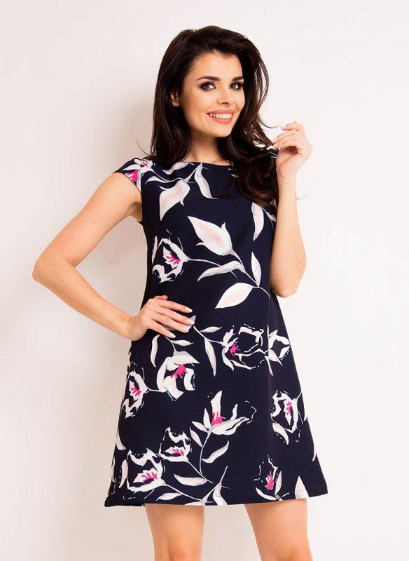 Czarna luźna sukienka na lato kwiatowy wzór
