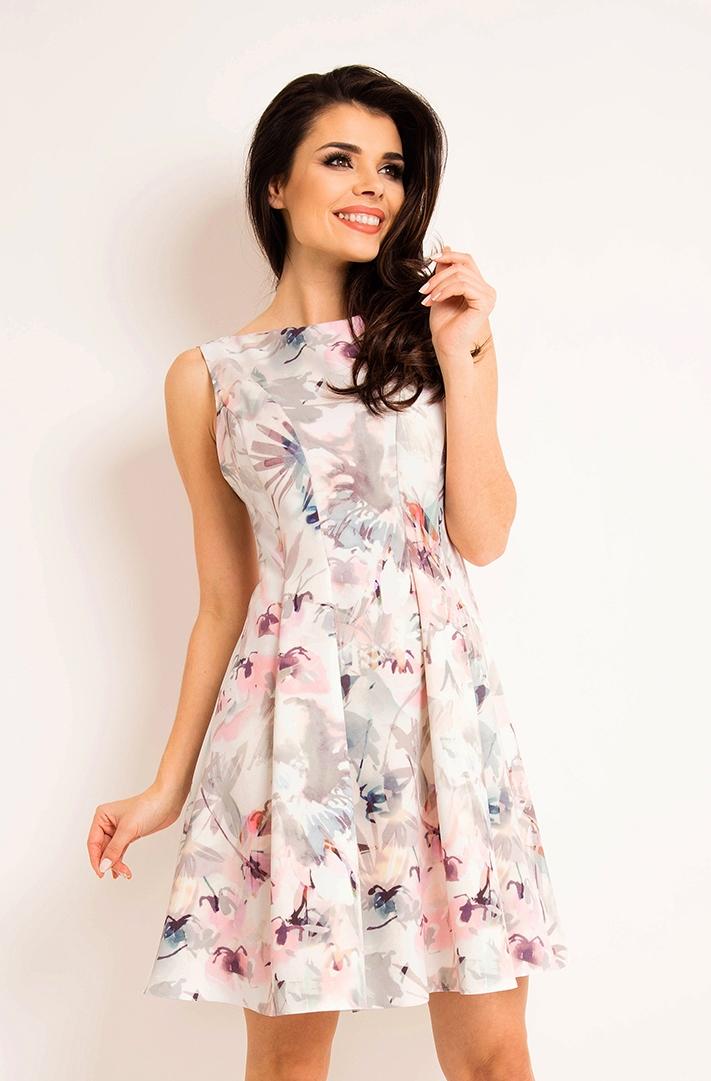 Taliowana letnia sukienka kwiatowy wzór