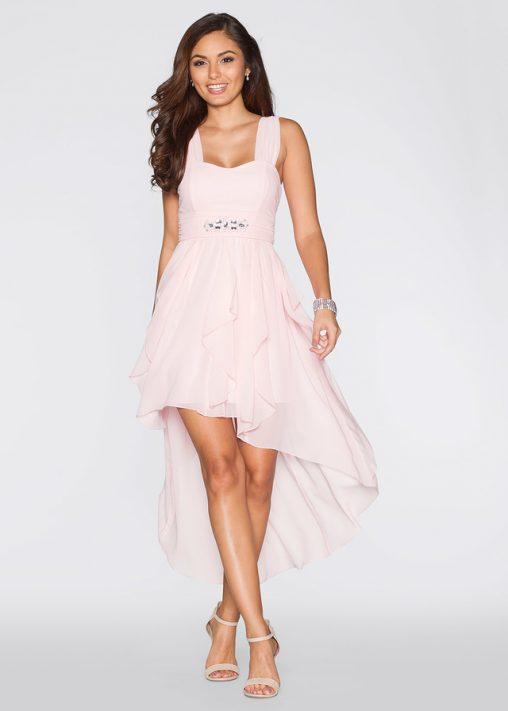 Pastelowa sukienka z długim tyłem na wesele