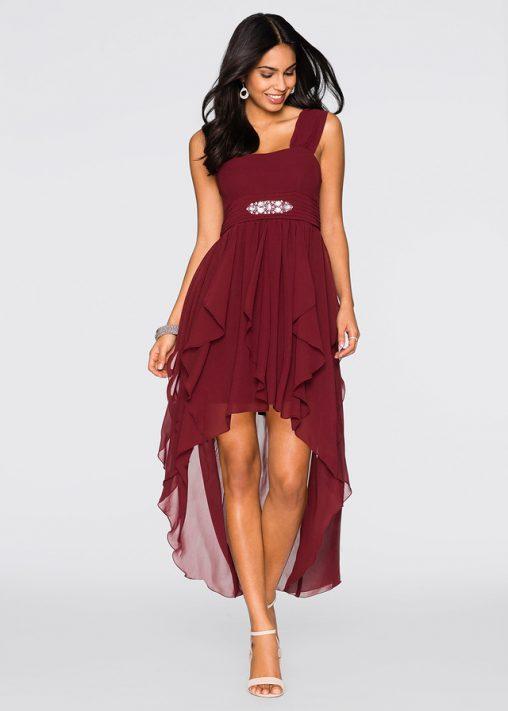 Bordowa wieczorowa sukienka dłuższy tył