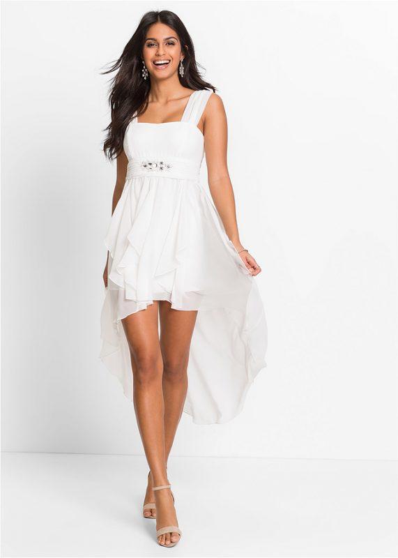Wieczorowa sukienka z przedłużonym tyłem