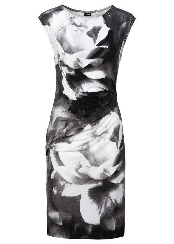 Czarna wizytowa sukienka w kwiaty