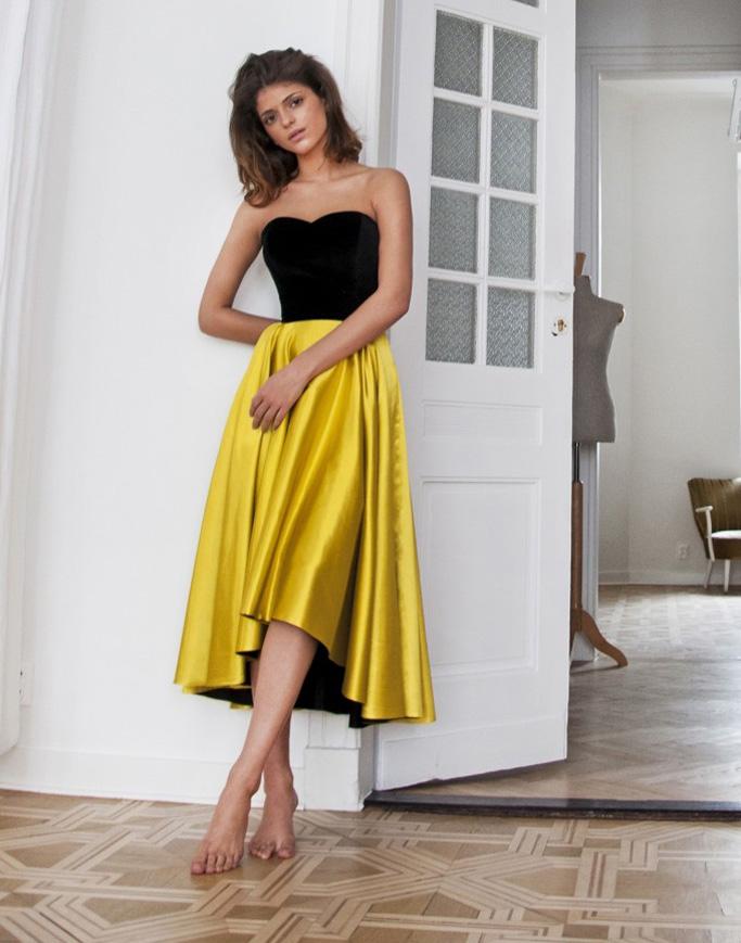 Czarno - żółta satynowa sukienka