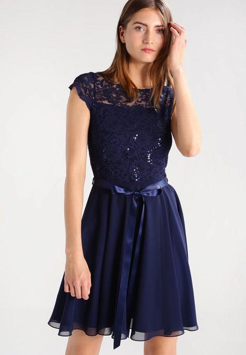Granatowa sukienka koktajlowa z koronką i cekinami