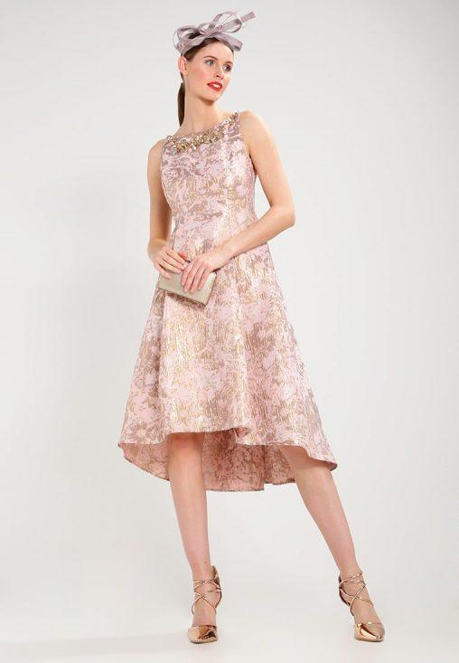 brzoskwiniowo złota wieczorowa sukienka z kamieniami