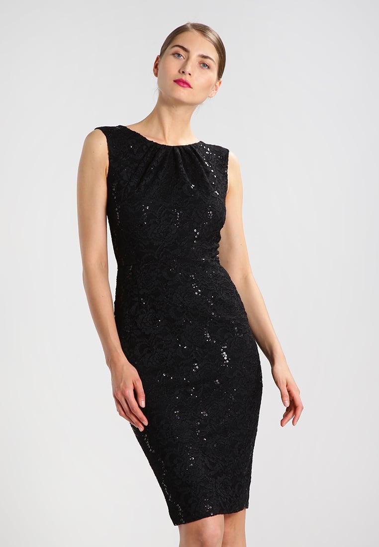 Koronkowa czarna sukienka z cekinami na wieczór