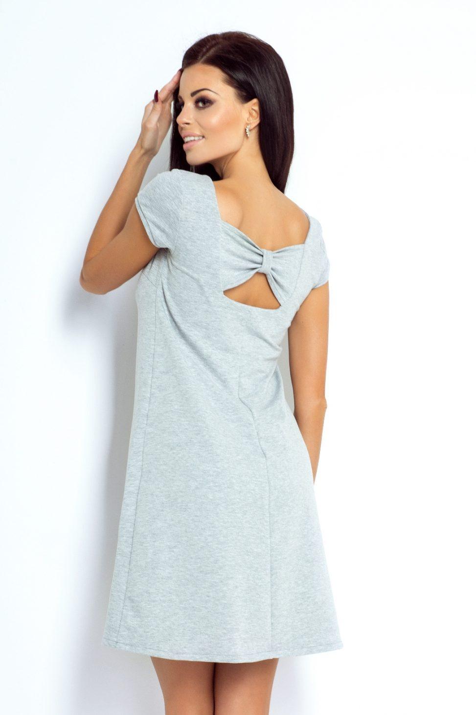Bawełniana szara sukienka z kokardą na plecach