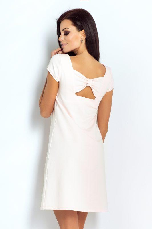pudrowa bawełniana sukienka z kokardą na plecach