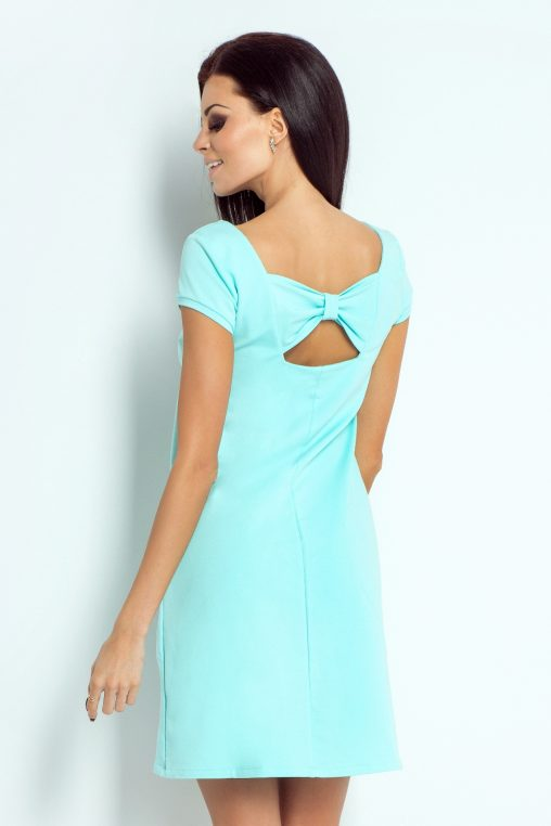 miętowa sukienka na lato trapezowa z kokardką