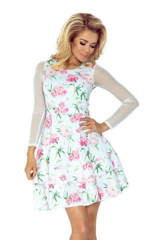 biała sukienka w kwiaty tiulowe rękawy