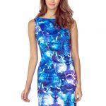 Asymetryczna sukienka z lamówką niebieska
