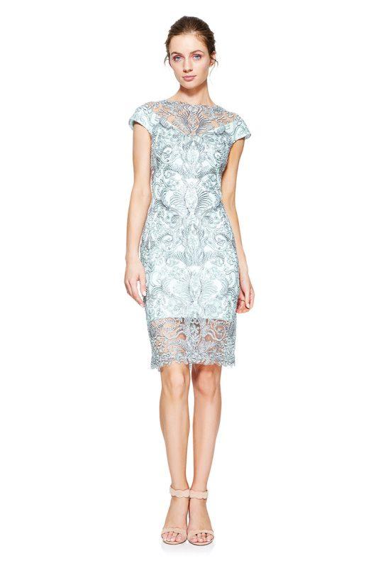 Sukienka połyskująca koronkowa błękitna