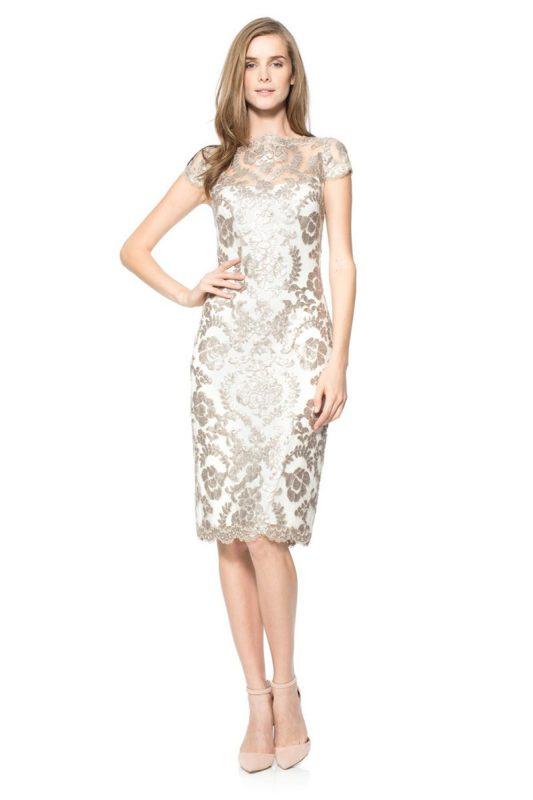 Kremowo srebrna sukienka wieczorowa