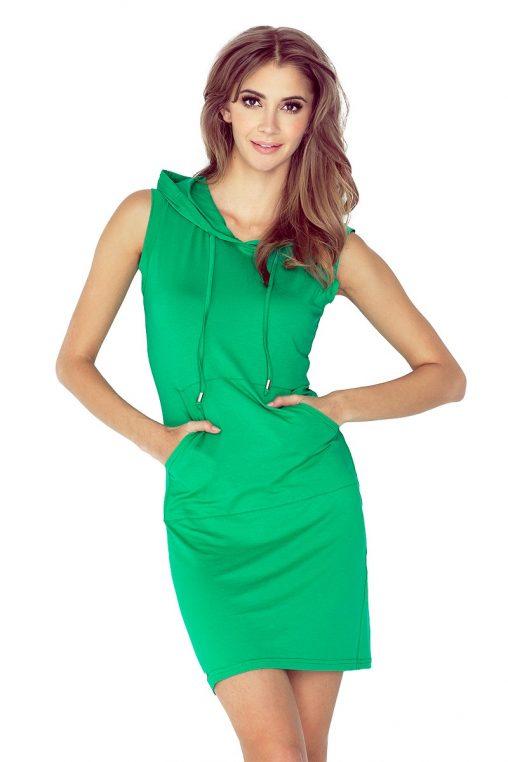 Letnia sukienka sportowa z kapturem zielona