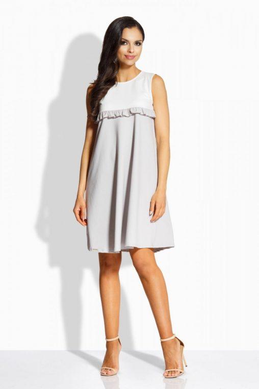 Luźna letnia sukienka z falbanką szara