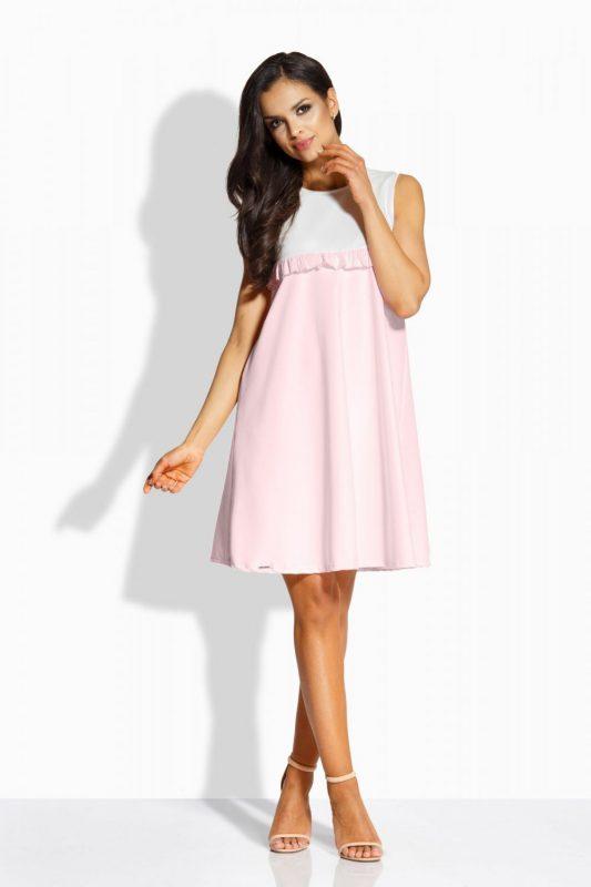 Luźna sukienka na lato pudrowy róż
