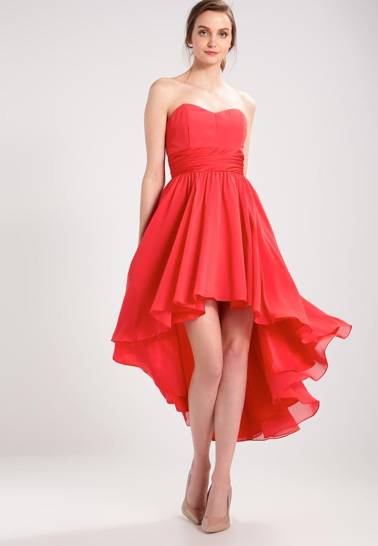 Sukienka z dłuższym tyłem z szyfonu czerwona