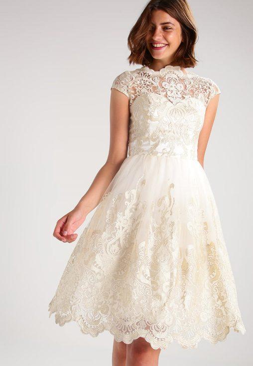 Koronkowa kremowa sukienka na wesele i studniówkę