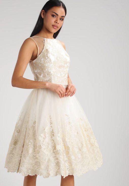 Sukienka koktajlowa kremowa z koronką