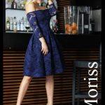 Granatowa koronkowa sukienka bez ramion