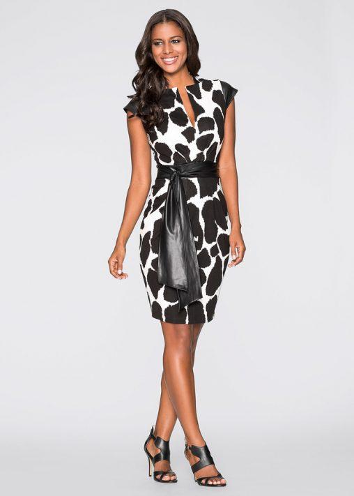 Elegancka sukienka ołówkowa z paskiem