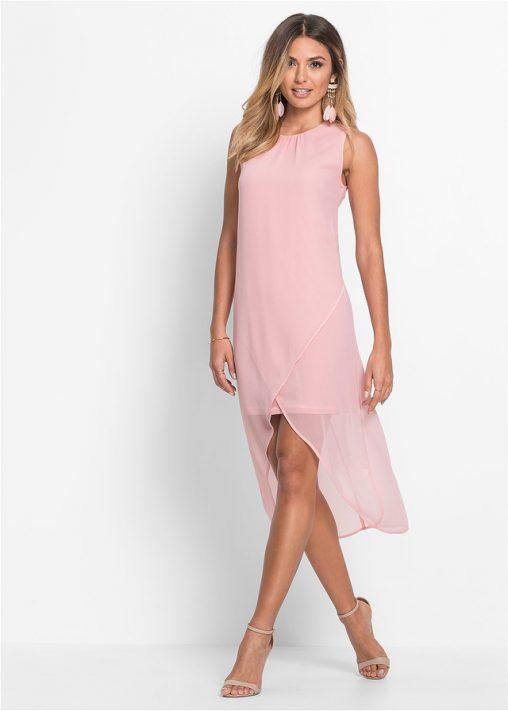Szyfonowa pudrowa sukienka
