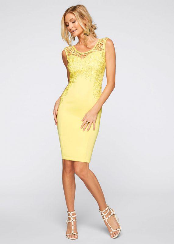 Żółta sukienka z koronką
