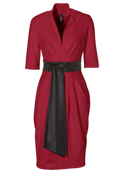 Elegancka bordowa sukienka z kokardką