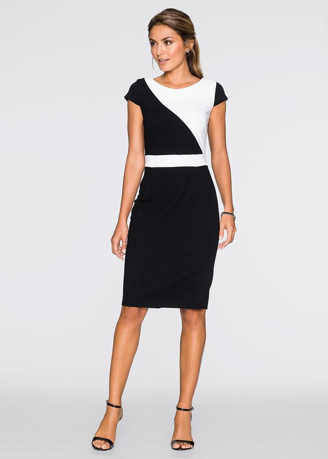 Elegancka dopasowana biało czarna sukienka
