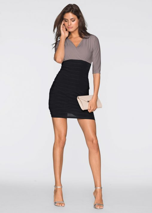 Elegancka sukienka do pracy czarna brunatna