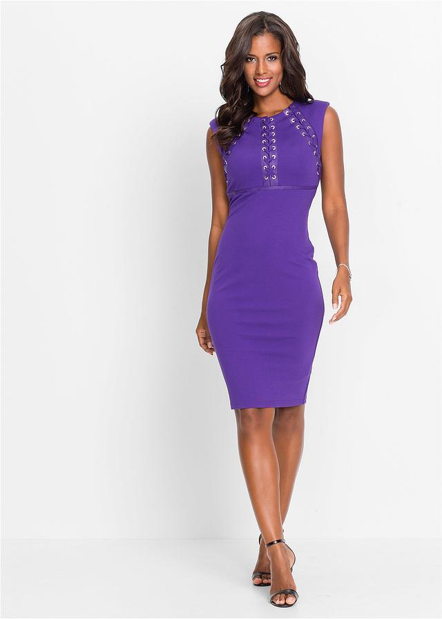 Fioletowa sukienka ze sznurowaniem w biuście