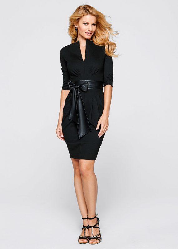 Elegancka czarna sukienka z kokardką