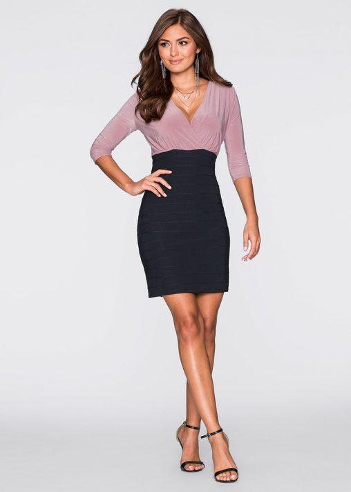 Elegancka sukienka do pracy czarna blady róż