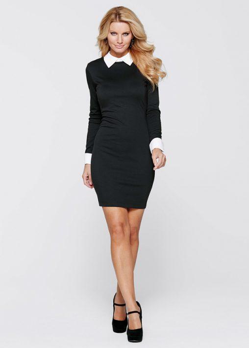 Elegancka czarna sukienka z białym kołnierzykiem