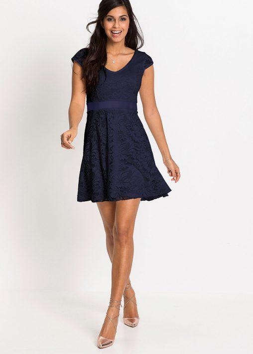 Granatowa sukienka z dżerseju koronkowa