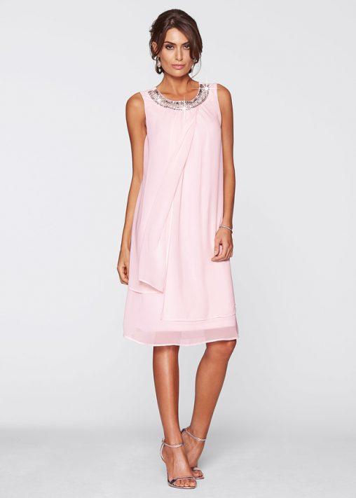 Elegancka luźna sukienka z szyfonu pudrowy róż