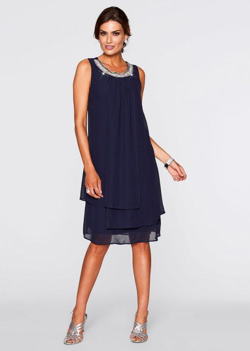 Elegancka luźna sukienka z szyfonu granatowa