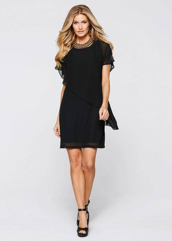 Czarna sukienka wieczorowa z szyfonem
